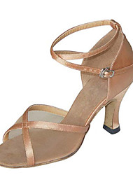 Non Customizable Women's Dance Shoes Latin / Swing /Salsa / Samba / Leatherette Chunky Heel Black/Brown/ Gray/Gold