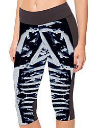 Woman Digital Printing On A Black Blue Bones High Waist And Buttock Seven Female Trousers