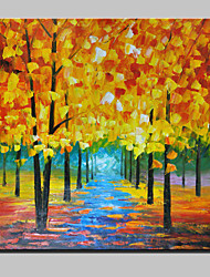 Hand-Painted Gold Tree Abstract Landscape Modern Knife Oil Painting On Canvas One Panel Ready To Hang