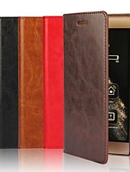 Для Кошелек / Бумажник для карт / со стендом Кейс для Чехол Кейс для Один цвет Твердый Натуральная кожа для HuaweiHuawei P9 / Huawei P9