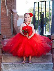 Ball Gown Tea-length Flower Girl Dress - Tulle / Polyester Sleeveless Off-the-shoulder with