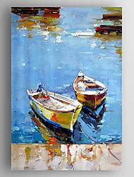 Ölgemälde abstrakte Landschaft Boote Hand bemalte Leinwand mit gestreckten eingerahmt fertig zum Aufhängen
