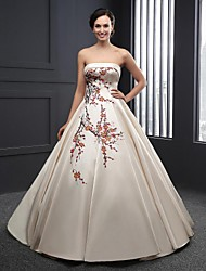 A-line Wedding Dress - Champagne Floor-length Strapless Satin