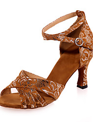 Non Customizable Women's Dance Shoes Latin Flocking Flared Heel Black / Brown / Gold