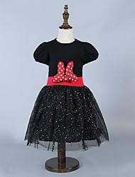 Girl's Black Dress,Bow Cotton Summer