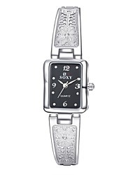 Women's Fashion Exquisite Simple Elegant Diamante Rectangular Dial Alloy Band Quartz Analog Wrist Watch(Assorted Color)