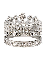 Women's Exaggerated Fashion Style Double Crown Alloy  Diamond Ring
