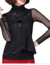 Women's Lace Pink / Black Blouse , Halter Long Sleeve
