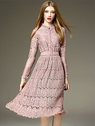 Women's Casual/Daily Sheath / Lace Dress,Patchwork Stand Maxi Long Sleeve Pink Others Fall