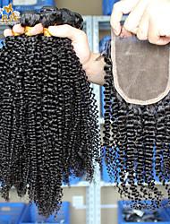"""перуанский девственные волосы с закрытием перуанских курчавые волосы пучками с кружевом закрытия кара продуктов волос 10 """"-26"""" акции"""
