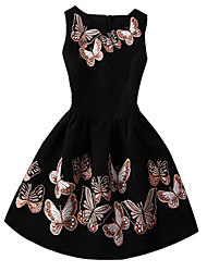 Women's Fashion Retro Butterfly Print Sleeveless Dress