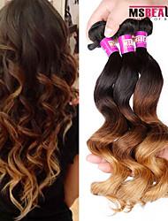 3 PC / Los 7a 3t 100% unverarbeitetes reines peruanisches lose Welle Haarverlängerungen menschlichen ombre Haar spinnt