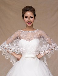 Wedding  Wraps Capelets Sleeveless Lace Ivory Wedding Crystal / Lace