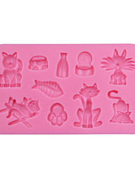 Cat and Fish Square Silicone 3D Mold Cookware Dining Bar Non-Stick Cake Decorating Fondant Mould Tools SM-047