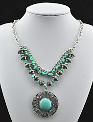 Vintage Look Antique Silver Alloy Round Cz Turquoise Stone Necklace Pendant(1PC)
