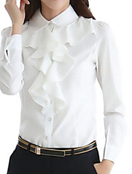 Women's Formal Simple Spring / Fall Shirt,Solid Shirt Collar Long Sleeve White / Black Polyester Medium