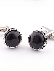 Copper Silver Black Agate Square Men's Cuff Links Wedding Party Gift Cufflinks