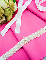 Satin Wedding / Party/ Evening / Dailywear Sash-Beading / Pearls / Crystal Women's 98 ½in(250cm) Beading / Pearls / Crystal