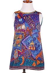 Girl's Classical Embroideried Dress , Cartoon Cotton / Linen Summer / Spring / Fall/Sleeveless