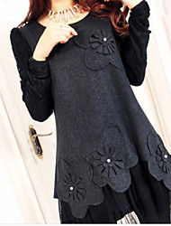 Women's Patchwork Gray Dresses , Casual / Work Round Long Sleeve