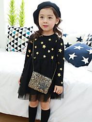 Girl's Black / Pink Dress,Galaxy Cotton Spring / Fall