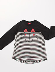 Girl's Black / Red Tee,Stripes Cotton Spring / Fall