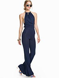 New fashion jumpsuit for women backless sexy bodysuit 2015 club wear for women new design blue cool sleeveless jumpsuit