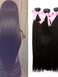 Cabelo 18inch reto extensão do cabelo humano natural de seda preta reta humano tece cabelo humano de 100%