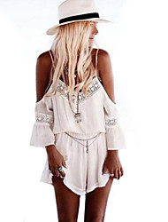 Women's White Summer Wild Free Short Sleeve Shorts Jumpsuits