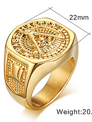 Band Rings Gold Plated Steel 18K gold Fashion Screen Color Jewelry Party 1pc
