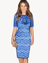 Women's Lace Blue Dress , Bodycon Round Neck ½ Length Sleeve