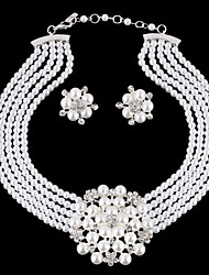 Luxury Diamond Texture Flowers Pearl Necklace SuitImitation Diamond Birthstone
