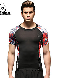 Vansydical Men's Breathable Fitness Tops Red / Pink / Light Gray