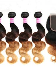 top 3pcs 7a / lot brésilien vague de corps cheveux ombre avec fermeture à lacets 1b / 4/30 27