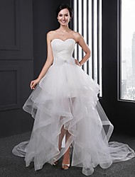 A-line Wedding Dress Asymmetrical Sweetheart Organza with Bow