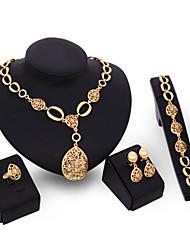 Women Wedding Bridal Gold Alloy Hollow Oval Water Droplets Necklace Bracelet Earrings Ring Jewelry Set Sweater Chain