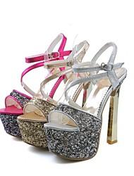 Women's Shoes Leatherette Stiletto Heel Heels / Platform Sandals Wedding / Party & Evening Red / Silver / Gold