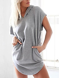 Women's Hot Sale Solid Fashion Casual Loose Leisure Hooded Sleeveless Large Size Dress