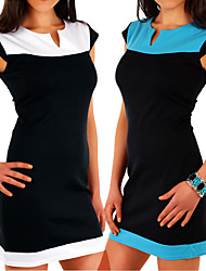 Women's Patchwork Blue / White Dresses , Casual V-Neck Short Sleeve