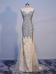 Formal Evening Dress-Champagne Trumpet/Mermaid Sweetheart Floor Length Tulle with Crystals