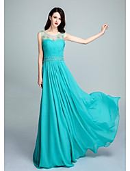 Formal Evening Dress Ball Gown Scoop Floor-length Chiffon with Beading