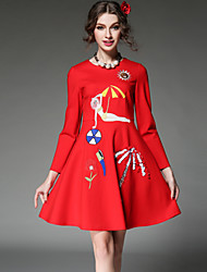 Plus Size Women 2016 Spring Dress Vintage High Fashion Sequins Bead Embroidery Elegant Dress Red