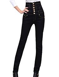 Женские, черные джинсы с высокой талией