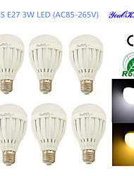 Ampoules Globe LED Décorative Blanc Chaud / Blanc Froid YouOKLight 6 pièces B E26/E27 3W 6 SMD 5730 260 LMAC 85-265 / AC 100-240 / AC