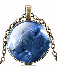 HUALUO®Cheap Retro Time Gem Star Wolf Universe Necklace