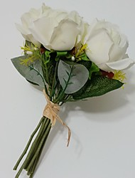 """Wedding Flowers Free-form Roses Bouquets Wedding / Party/ Evening Red / White Satin 8.66""""(Approx.22cm)"""