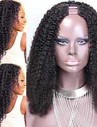 mongolian afro knky lockig u Teilperücke Echthaarperücke 100% reines u Teilperücke 1''x3 '' Zoll Mittelteil für schwarze Frauen