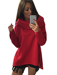 Damen Kapuzenshirt Ausgehen Solide Rollkragen Mikro-elastisch Polyester Langarm Herbst