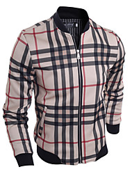 Men's Fashion Plaid Stand Collar Casual Slim Fit Jacket