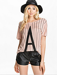 Women's Striped Pink Blouse , Round Neck Short Sleeve
